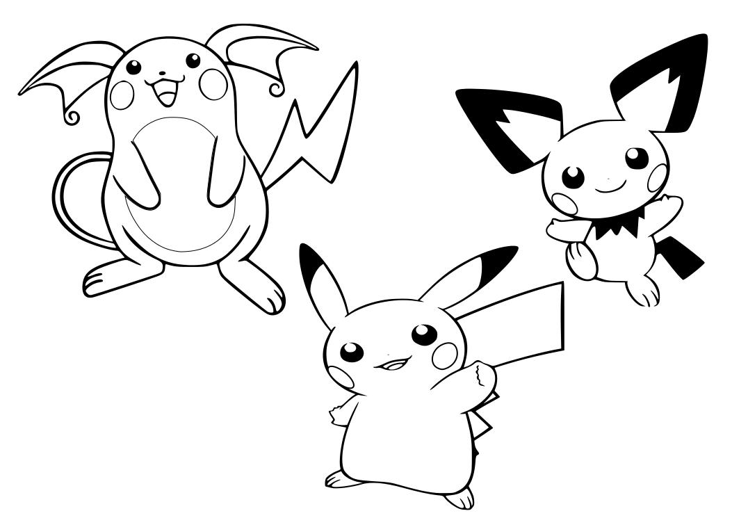Tranh tô màu những chú pikachu