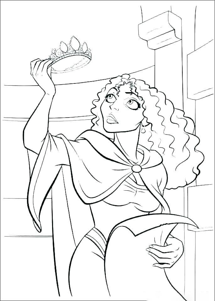 Tranh tô màu phù thủy trong công chúa tóc mây