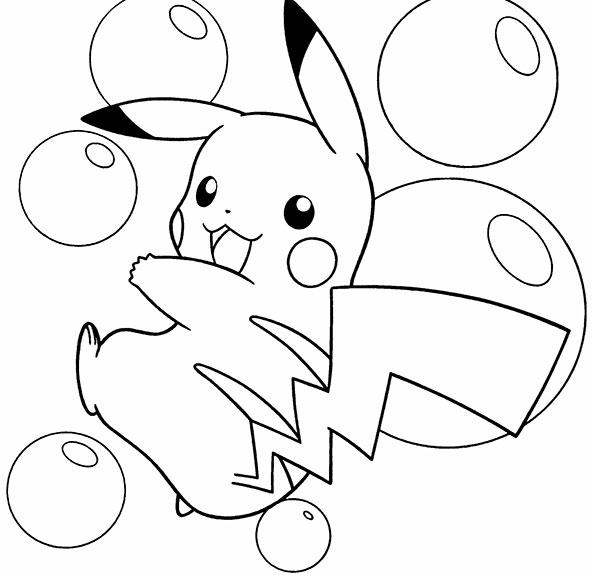Tranh tô màu pikachu bong bóng