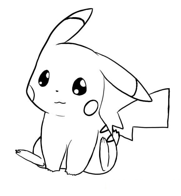 Tranh tô màu pikachu cute