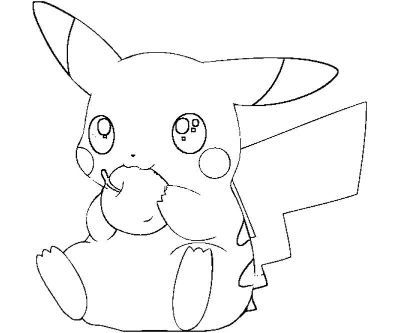 Tranh tô màu pikachu đang ăn