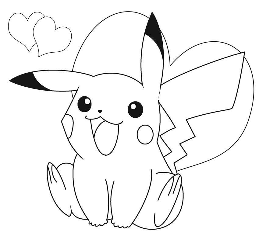 Tranh tô màu pikachu đáng yêu