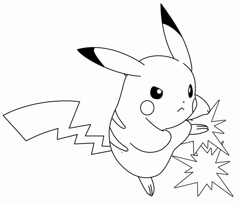 Tranh tô màu pikachu dễ thương