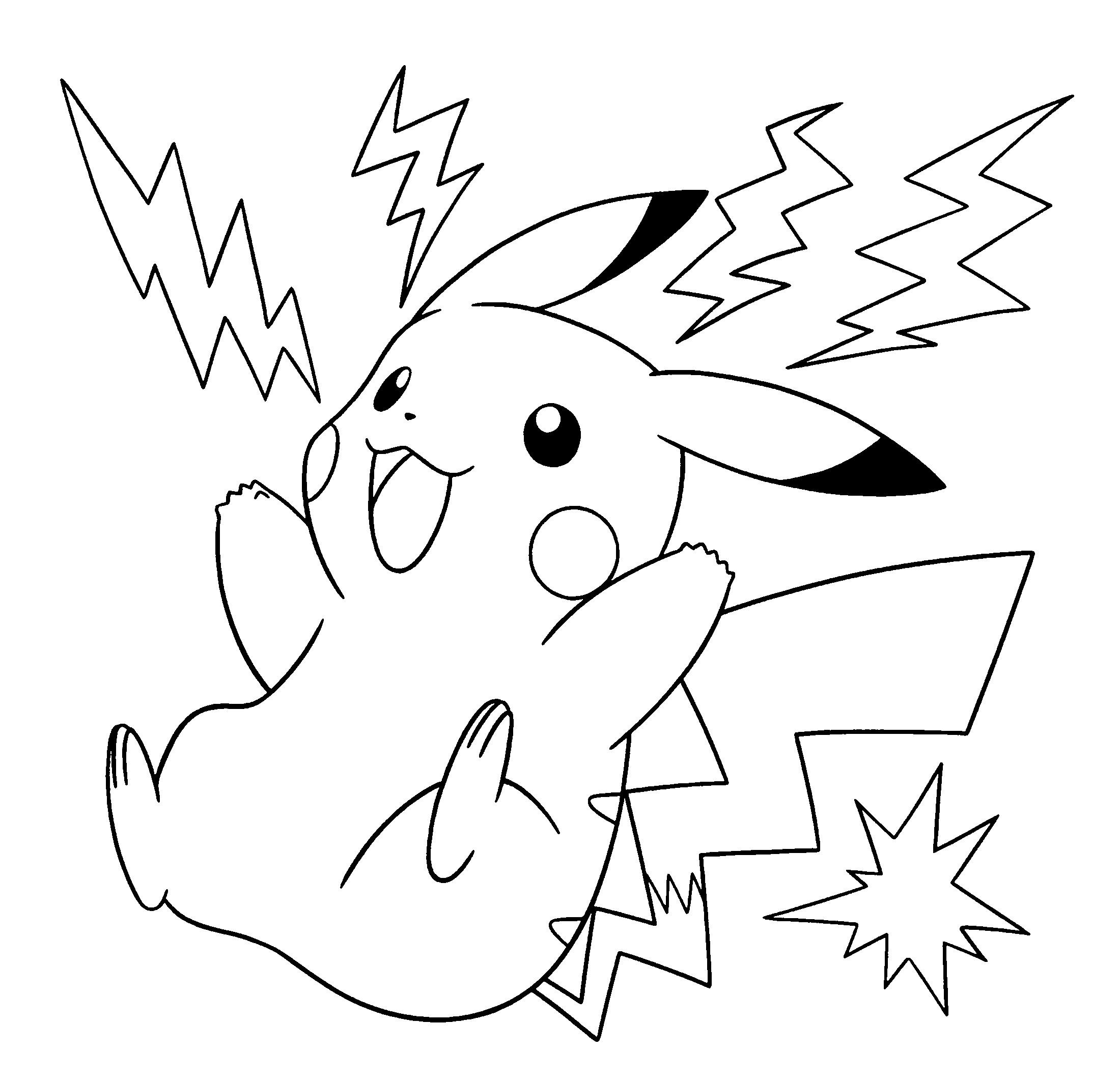 Tranh tô màu pikachu đen trắng
