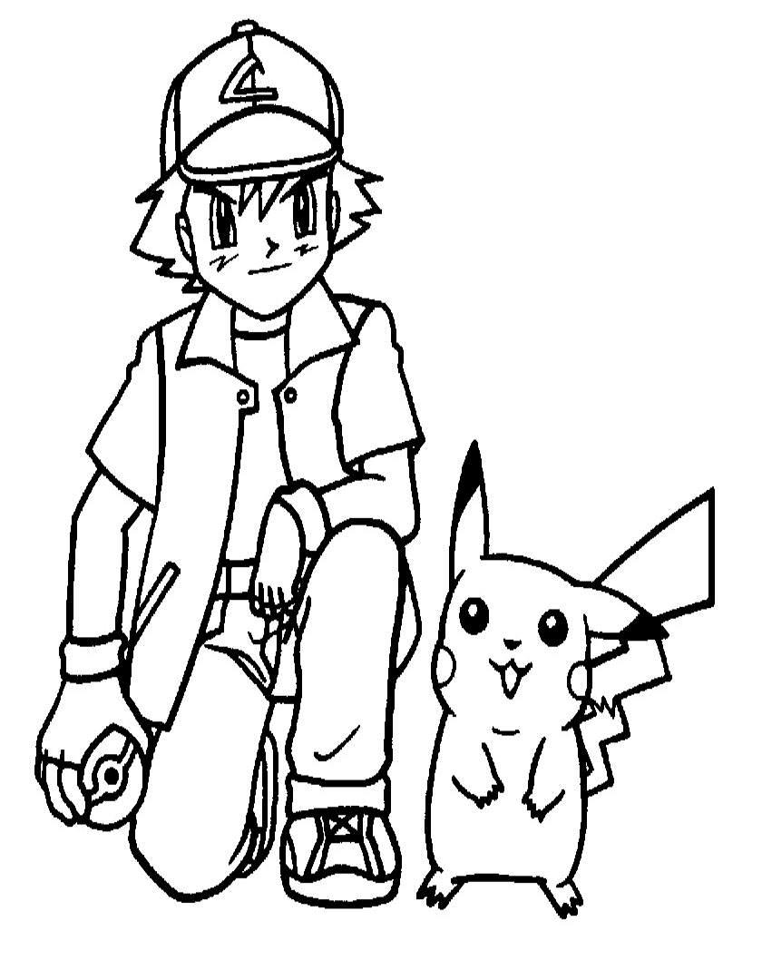 Tranh tô màu pikachu hoạt hình