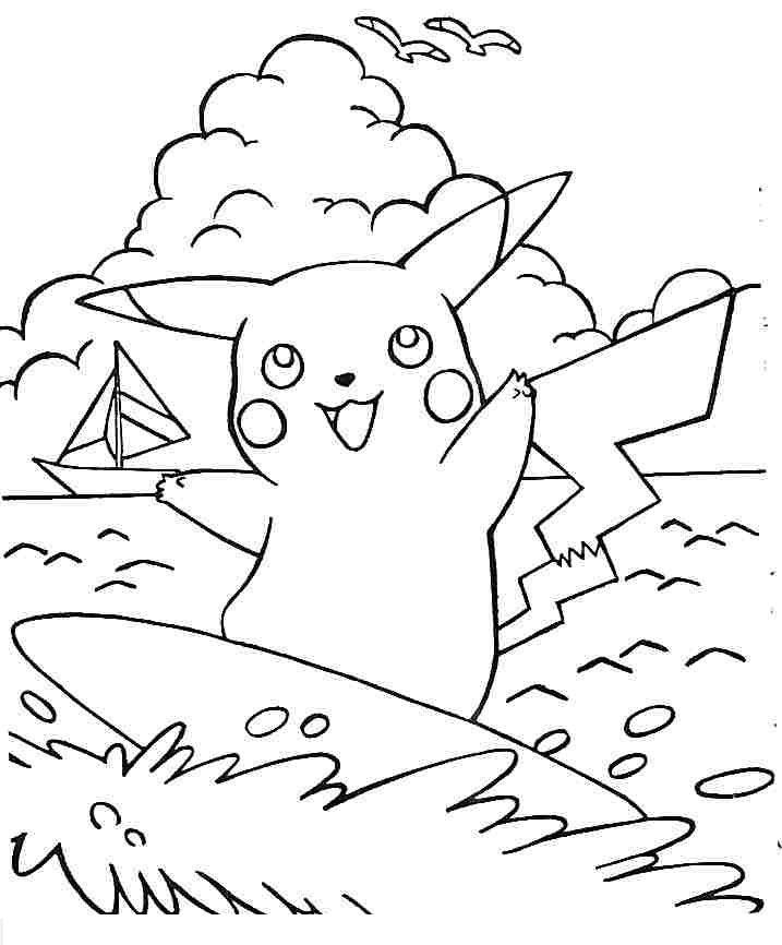 Tranh tô màu pikachu lướt ván