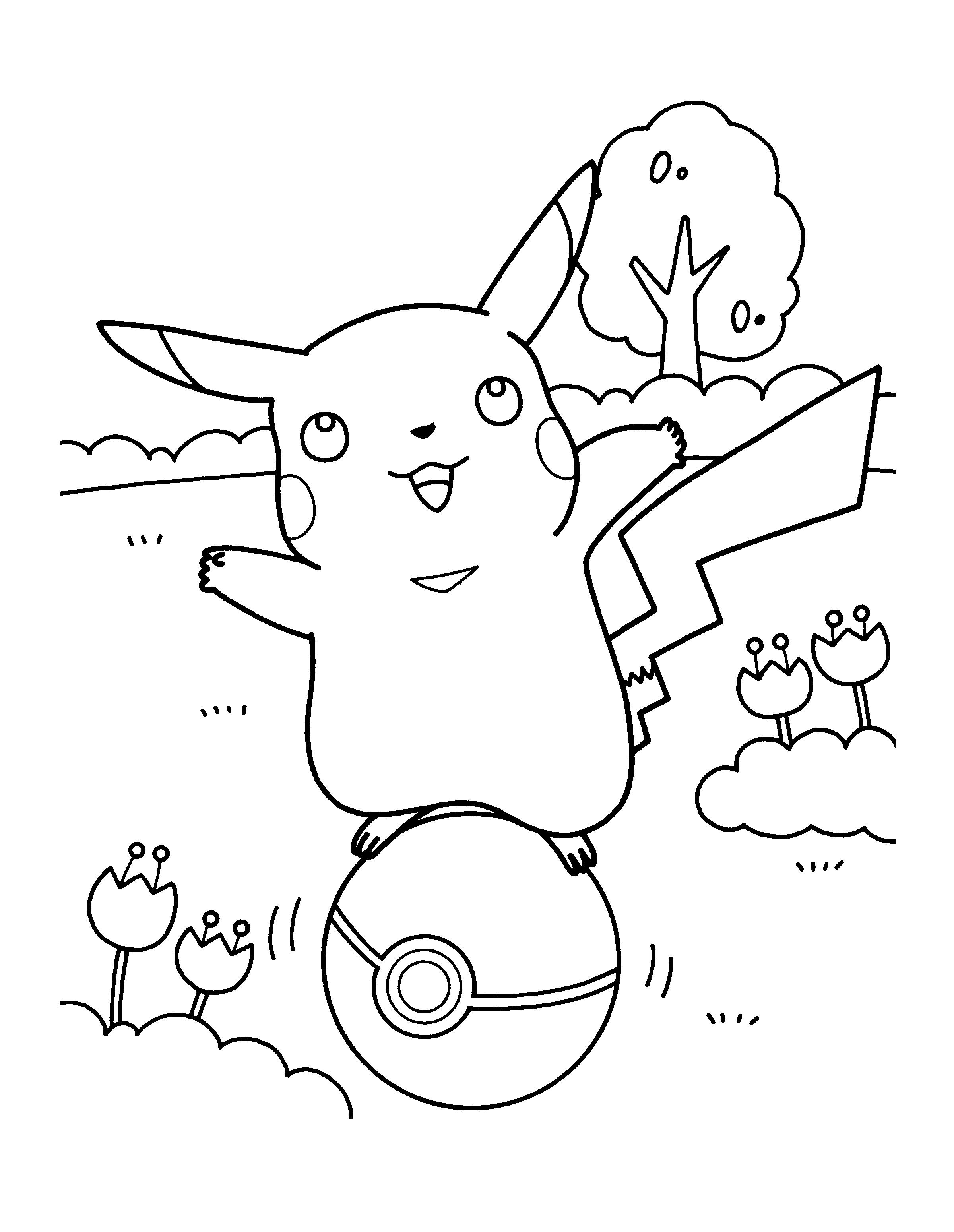 Tranh tô màu pikachu ngoài thiên nhiên
