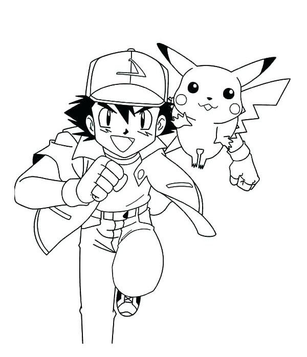 Tranh tô màu pikachu và satoshi
