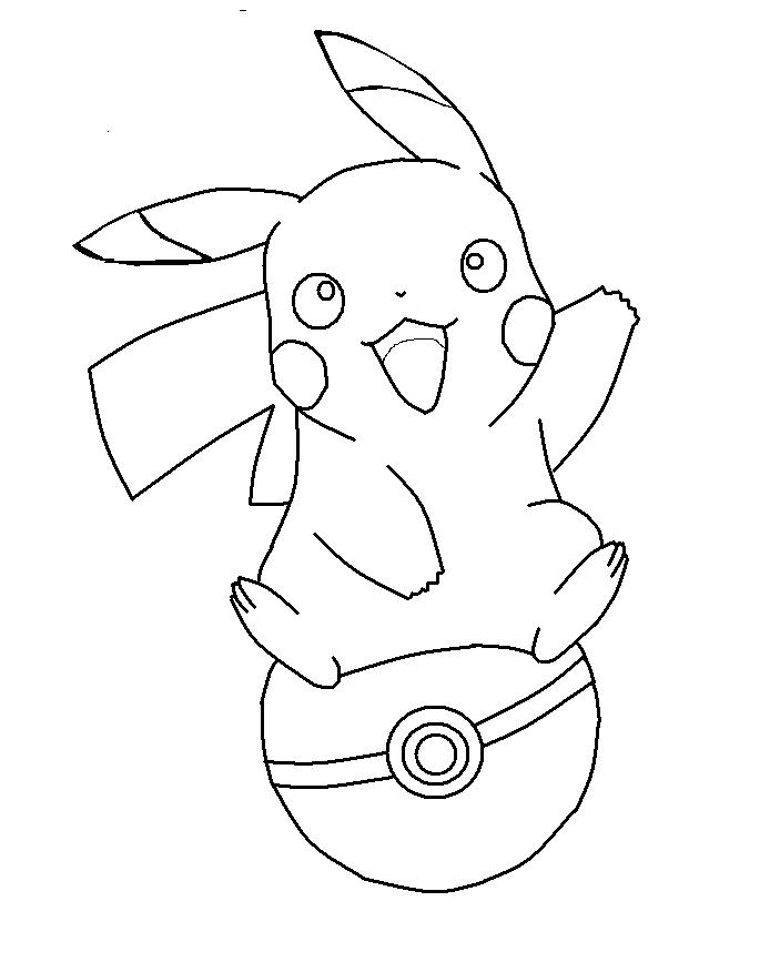 Tranh tô màu pikachu với pokeball