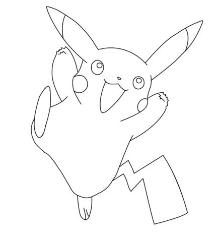 Tranh tô màu pikachu vui mừng