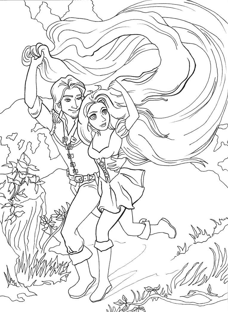 Tranh tô màu tình yêu công chúa tóc mây