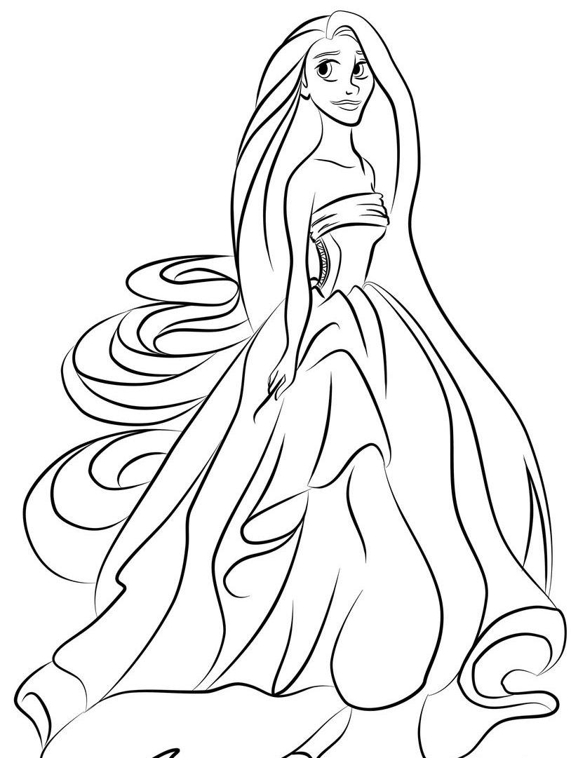 Tranh tô màu truyện công chúa tóc mây