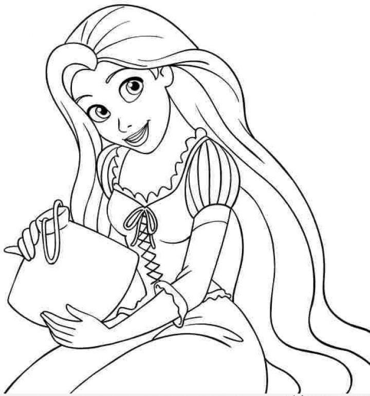 Tranh tô màu về công chúa tóc mây