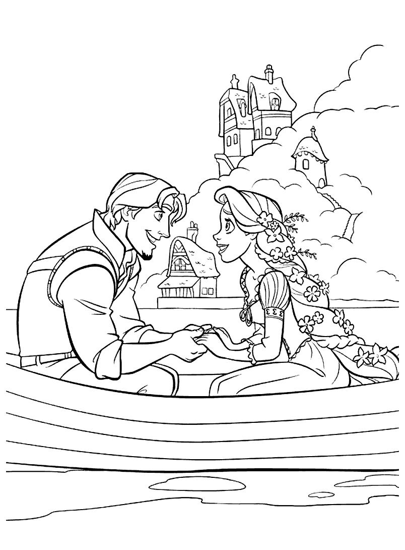 Tranh vẽ công chúa tóc mây cho bé tô màu