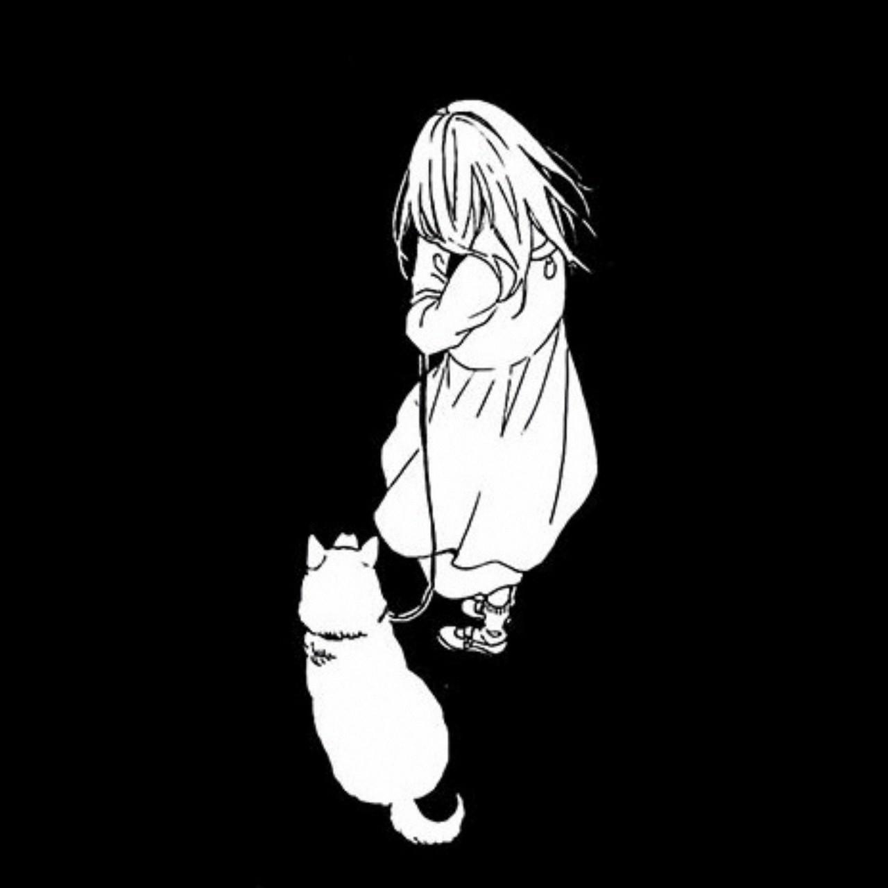 Hình Anime trắng đen đáng yêu