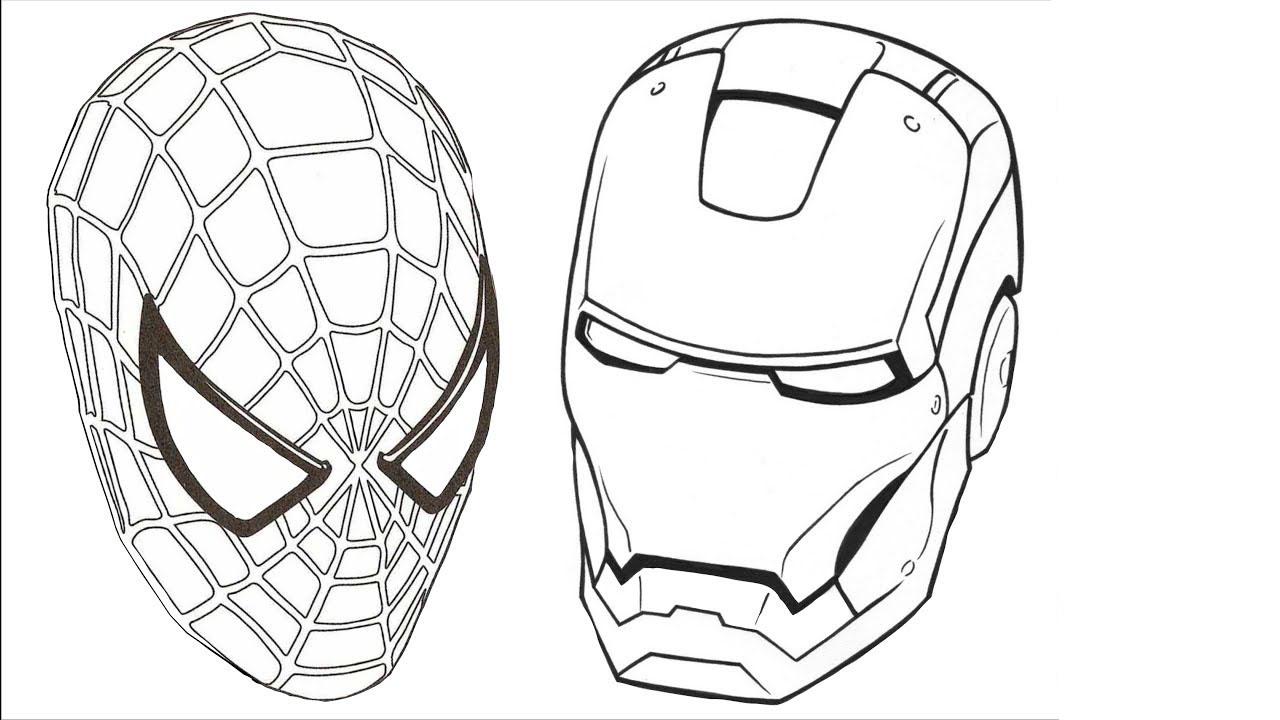 Tranh tô màu mặt nạ người nhện và người sắt