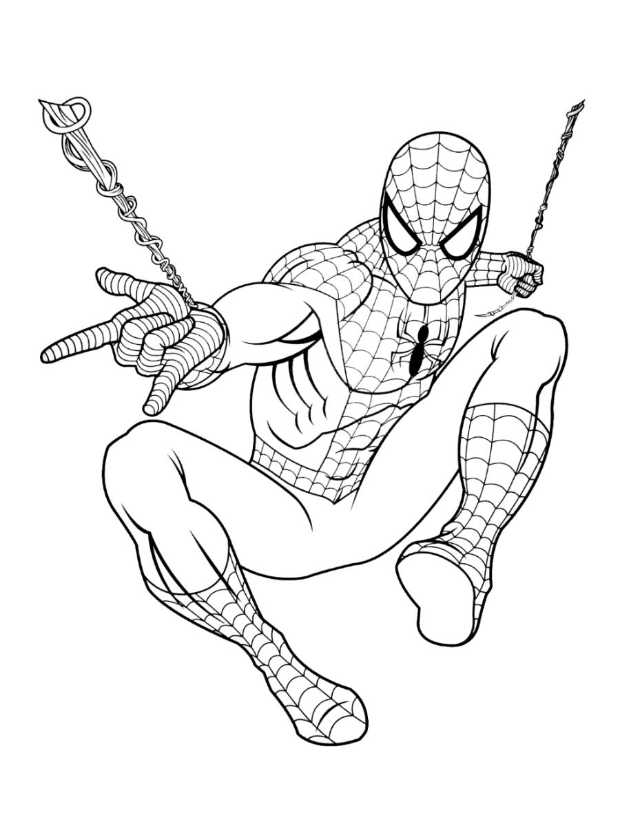 Tranh tô màu người nhện bắn tơ