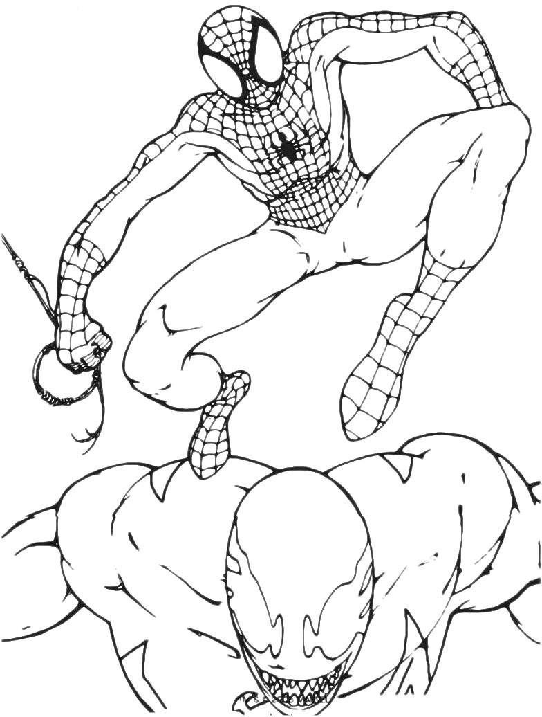 Tranh tô màu người nhện chiến đấu với quái vật