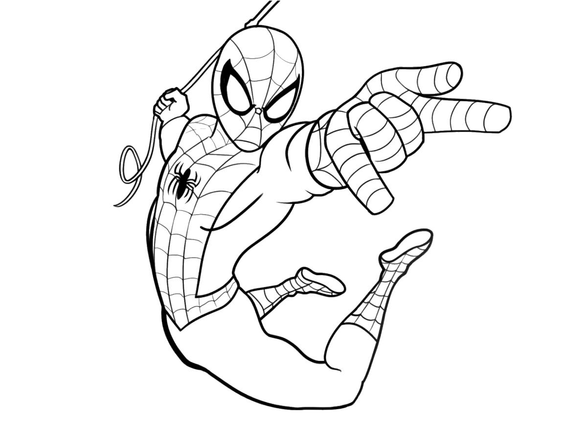 Tranh tô màu người nhện đu dây