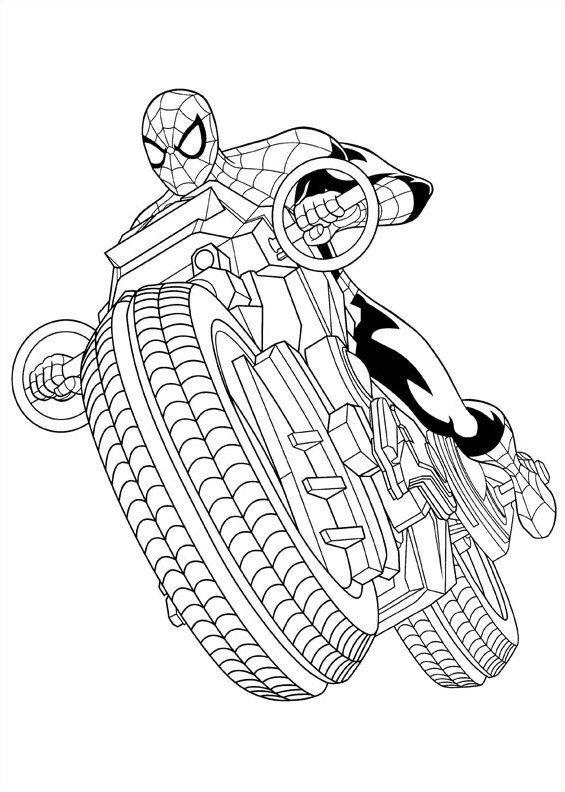 Tranh tô màu người nhện lái mô tô