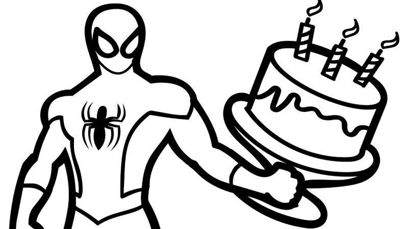 Tranh tô màu người nhện sinh nhật