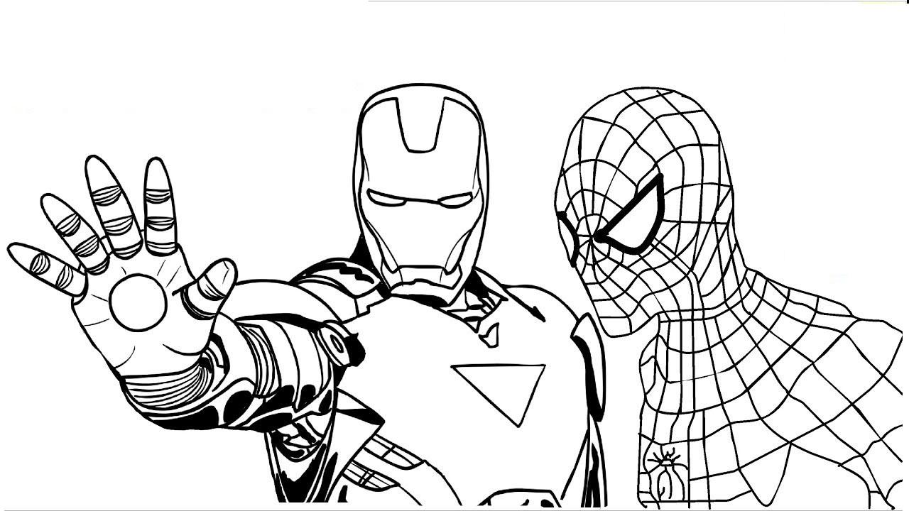 Tranh tô màu người nhện và người sắt