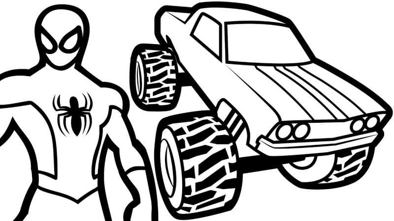 Tranh tô màu người nhện với xe ô tô