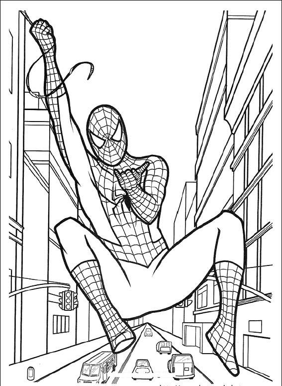 Tranh tô màu siêu nhân người nhện cho bé