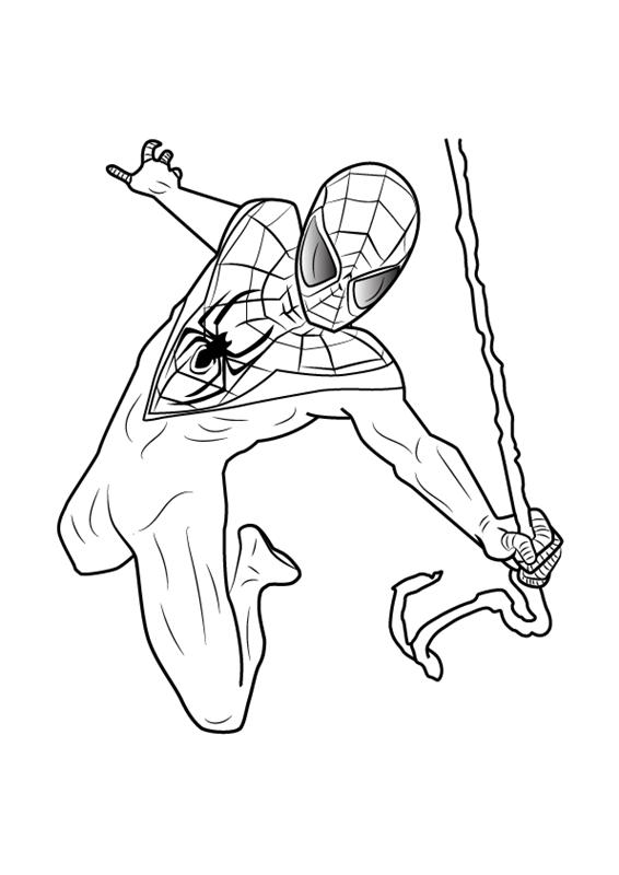 Tranh tô màu về người nhện đu dây