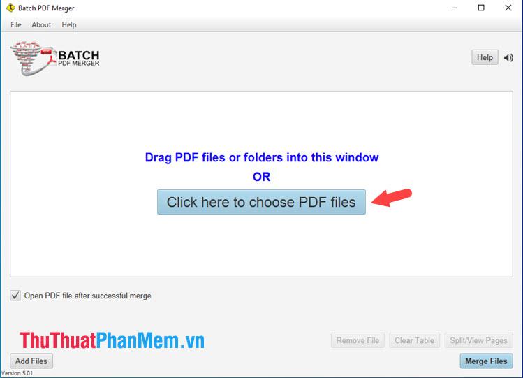 Chọn Click here to choose PDF files