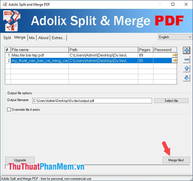 Chọn Merge files