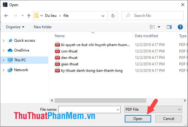Mở các file PDF cần nối và bấm Open