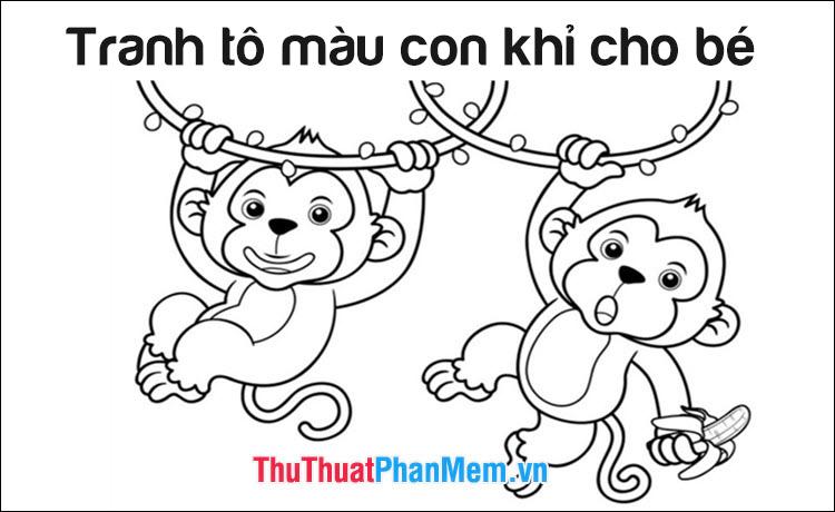 Tranh tô màu con khỉ cho bé