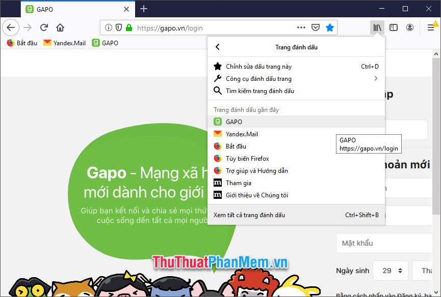 Tại đây các bạn có thể thấy những địa chỉ trang web đã được lưu trữ của Firefox
