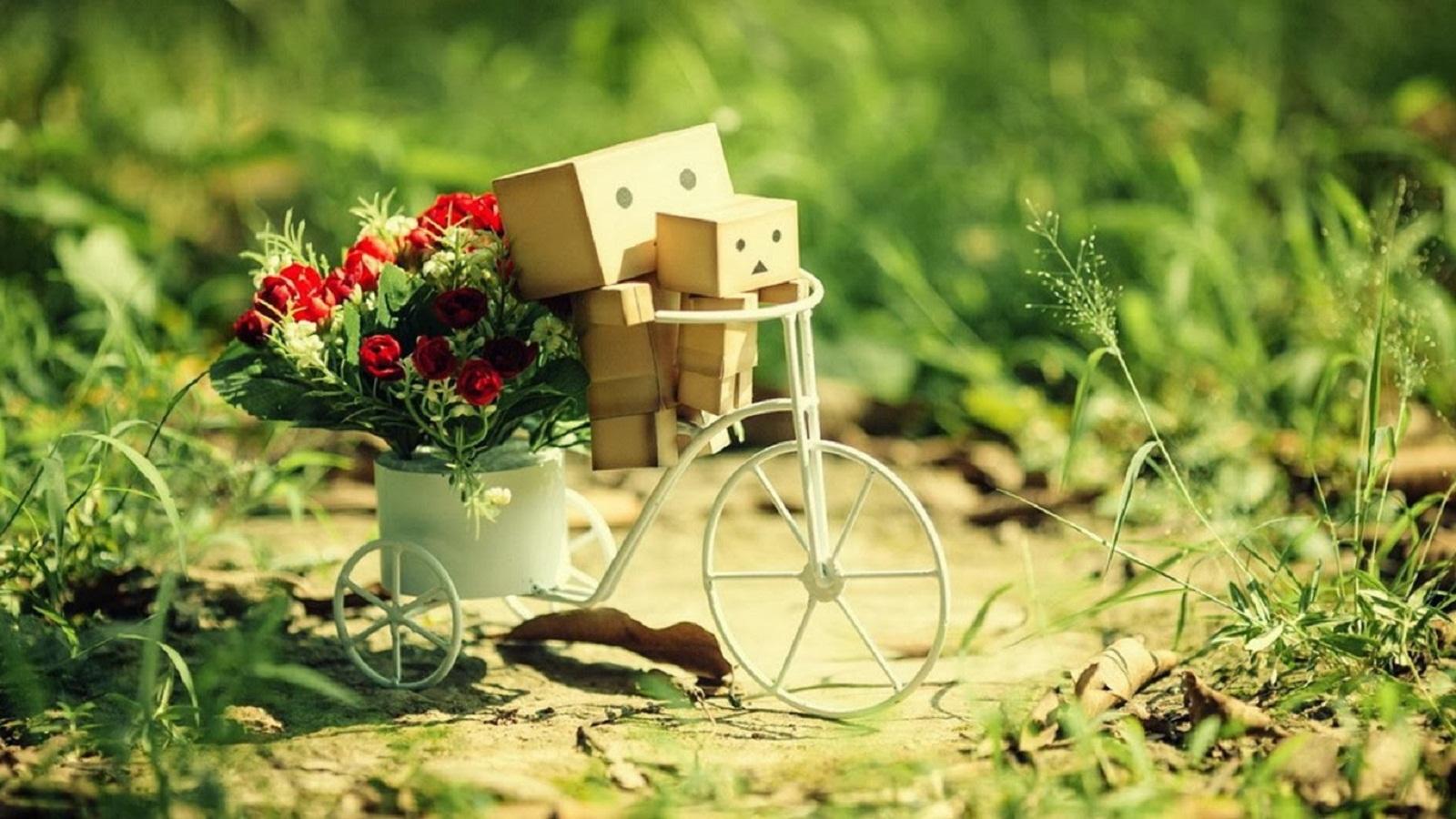 Hình ảnh người gỗ chở xe đạp lai người gỗ nhỏ