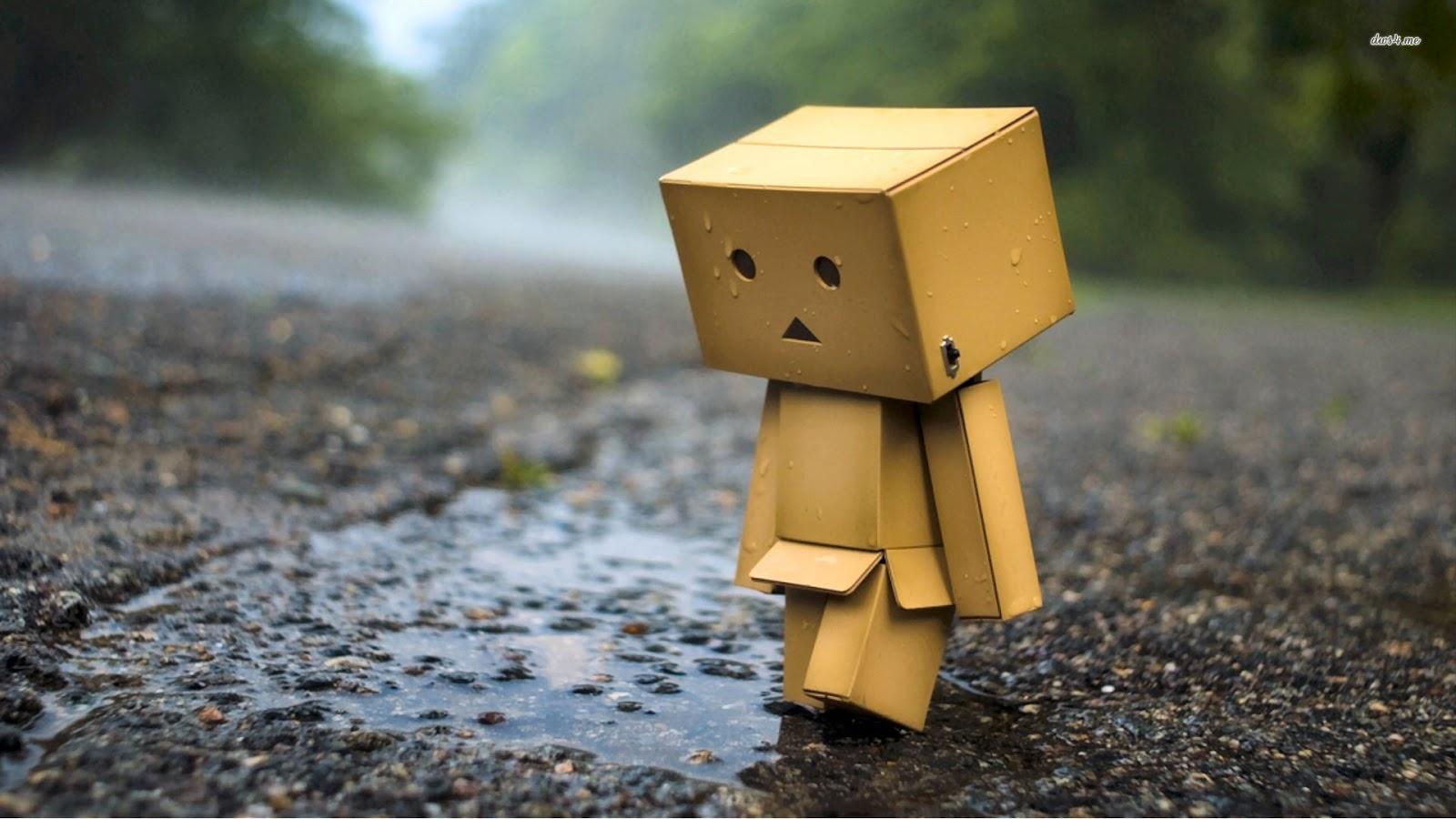 Hình ảnh người gỗ đứng cúi đầu sau cơn mưa