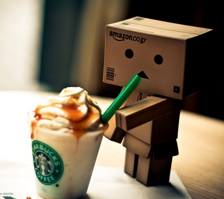 Hình ảnh người gỗ uống cafe kem rất ngon