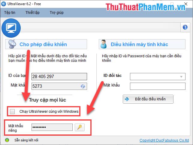 Tích chọn Chạy UltraViewer cùng với Windows