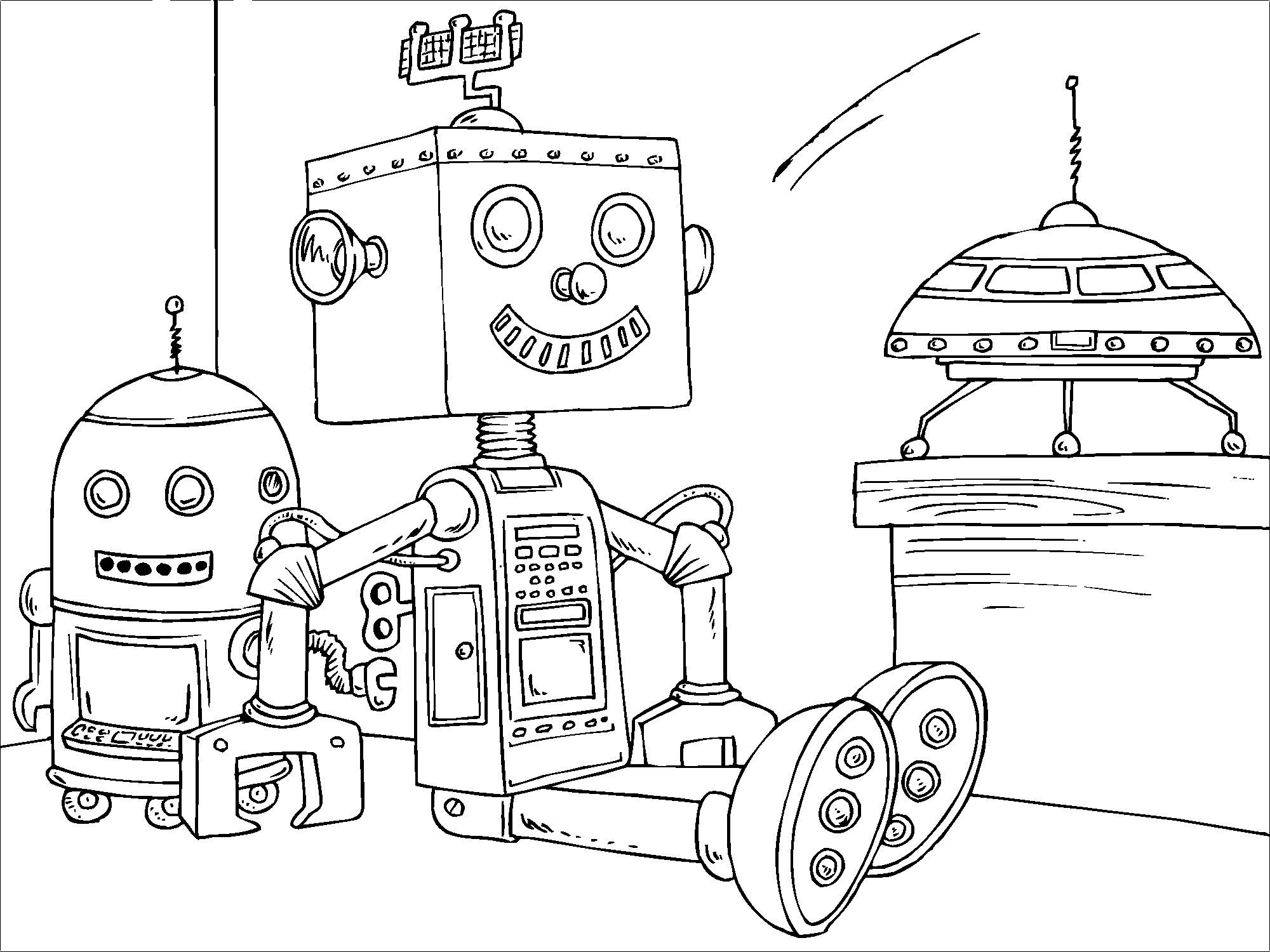 Tranh robot cute tô màu