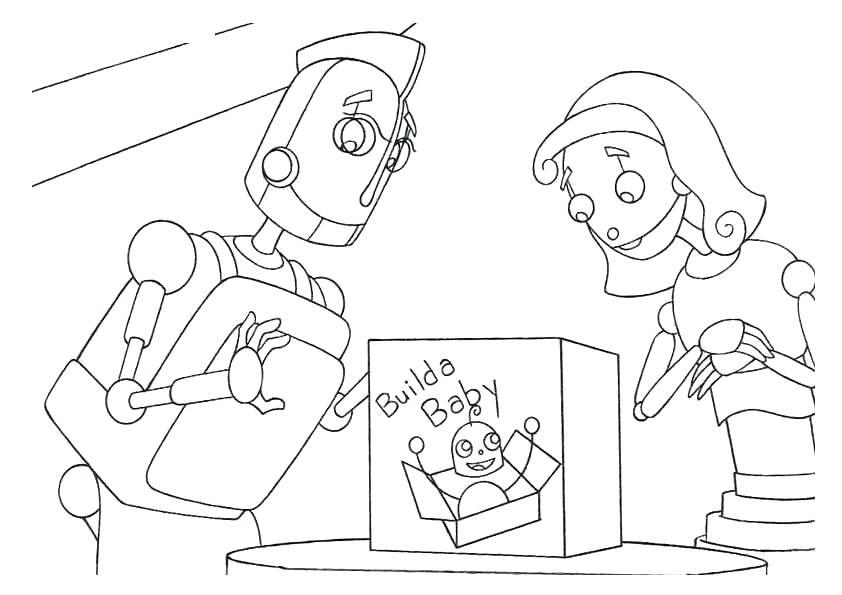 Tranh tô màu gia đình robot