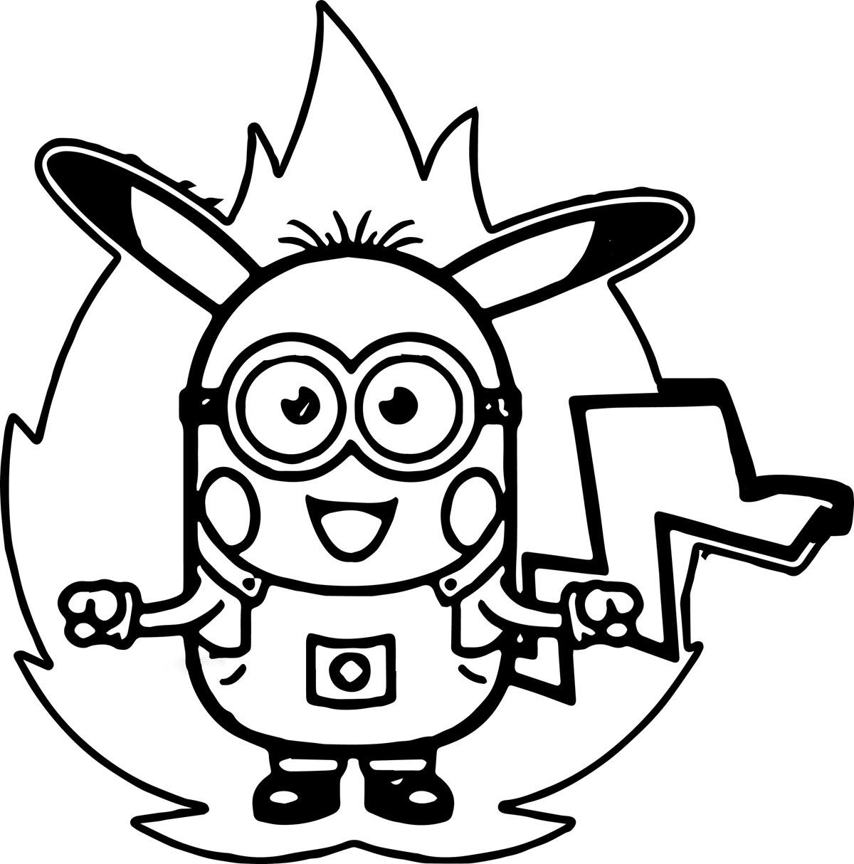 Tranh tô màu minion chế pikachu