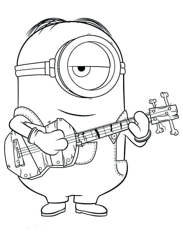Tranh tô màu minion chơi đàn