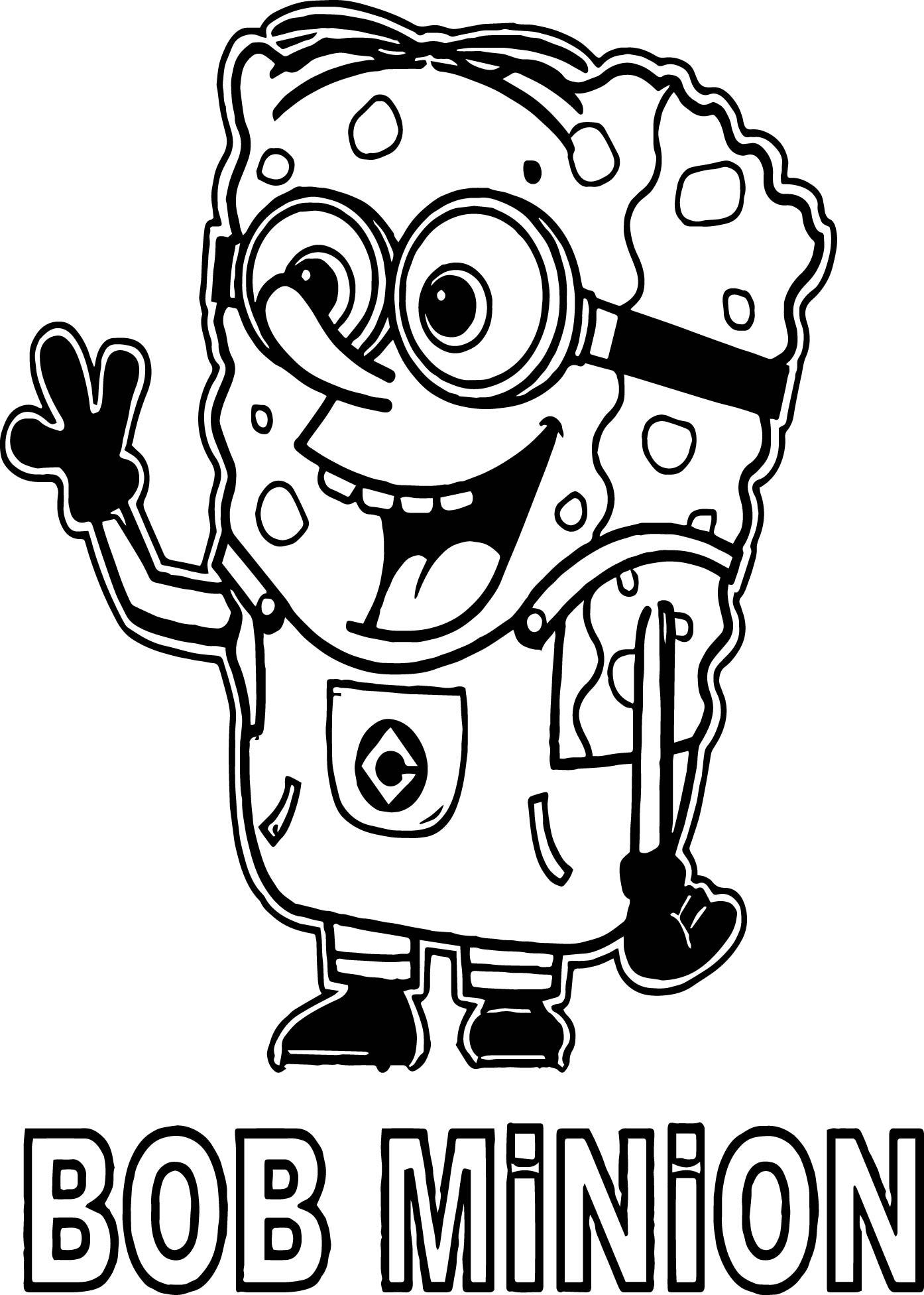 Tranh tô màu minion sponge bob