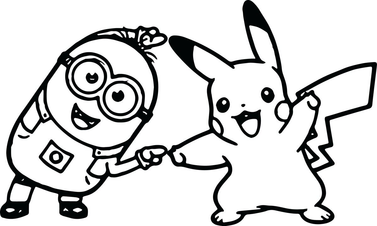 Tranh tô màu minion và pikachu
