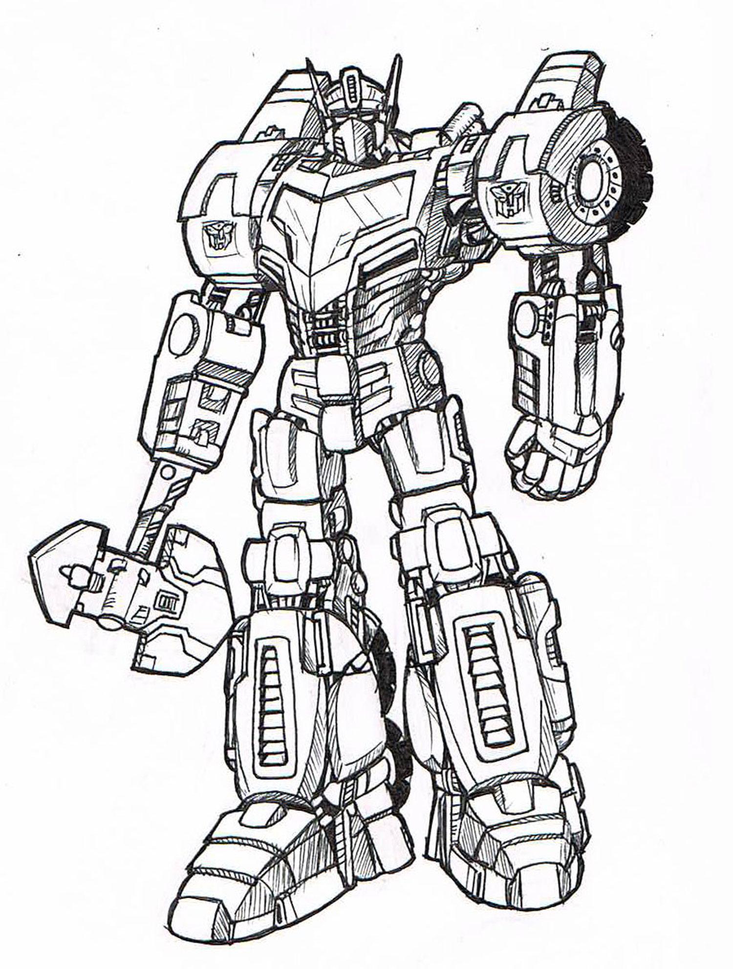 Tranh tô màu robot chiến binh