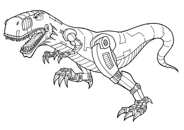 Tranh tô màu robot khủng long