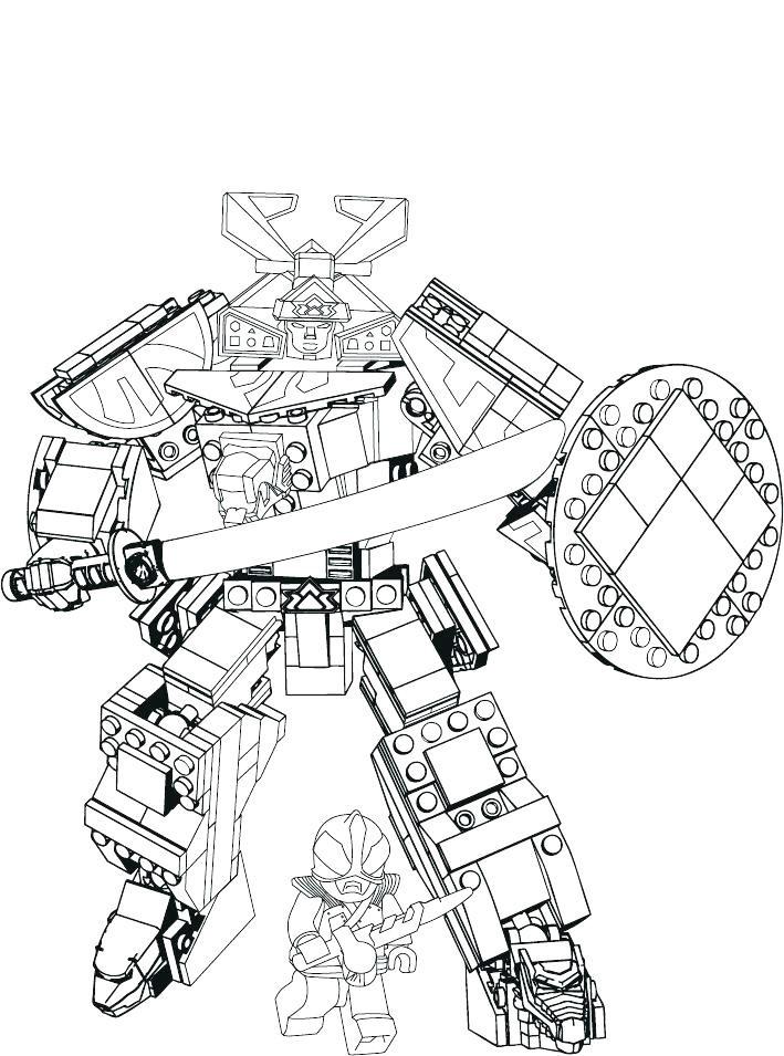 Tranh tô màu robot samurai