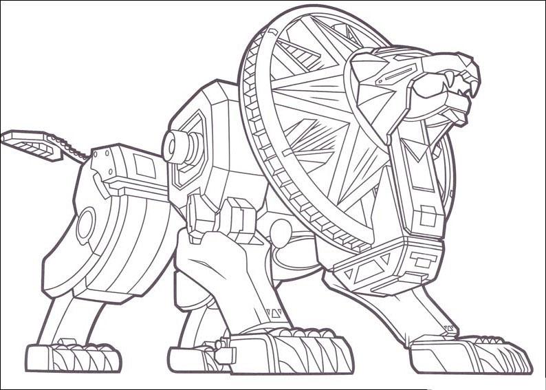 Tranh tô màu robot sư tử