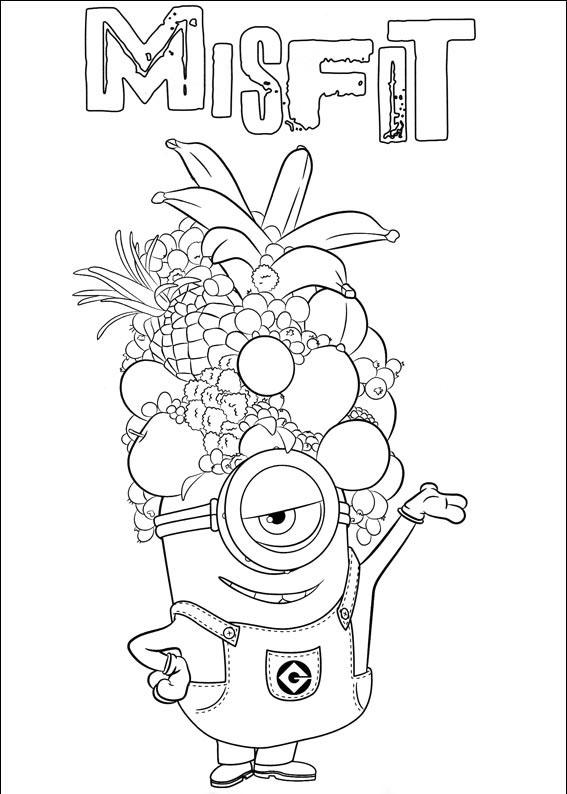 Tranh vẽ tô màu minion trái cây