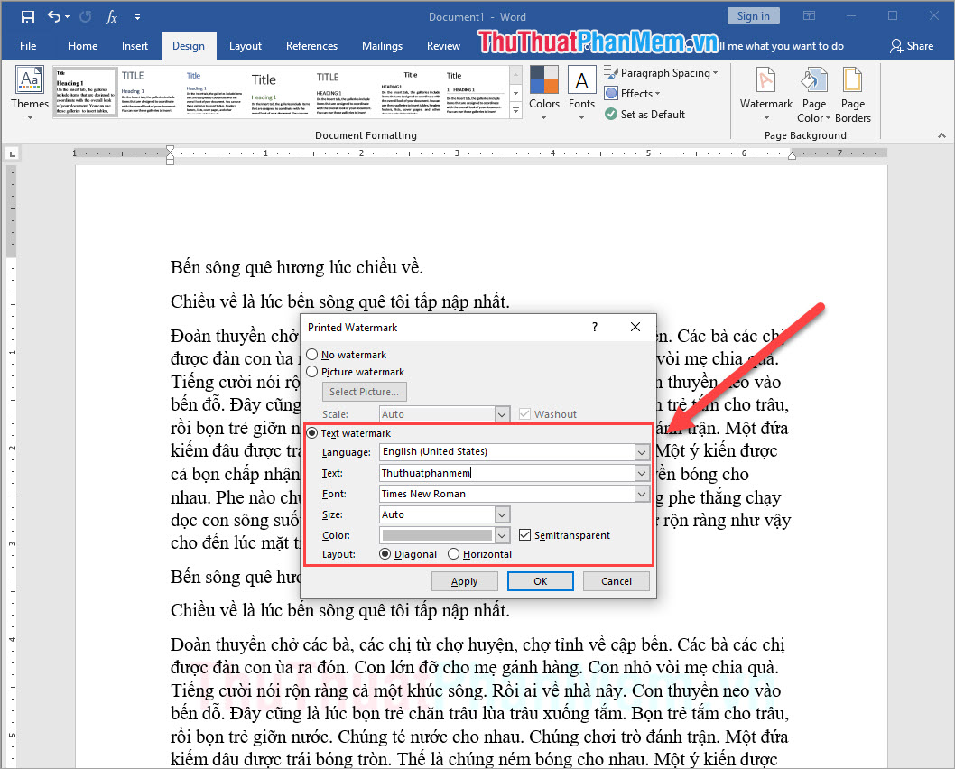Chọn mục Text watermark